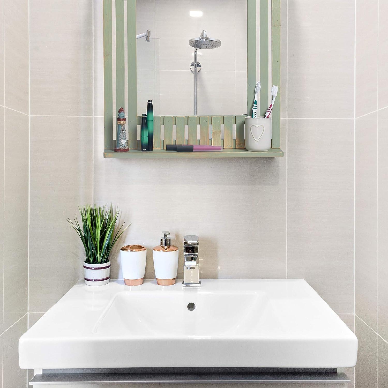 Ingresso Bagno Rettangolare con Mensola verde Salotto HLP: 70 x 50 x 10,5 cm Relaxdays Specchio da Parete in Bamb/ù