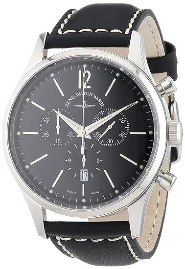 Zeno Watch Basel 6564-5030Q-i1 - Reloj analógico de cuarzo para hombre con correa de piel, color negro: Amazon.es: Relojes