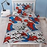 Spiderman - Funda de edredón para Cama Individual, diseño de Paisaje de la Ciudad, Reversible, Reversible, diseño de…