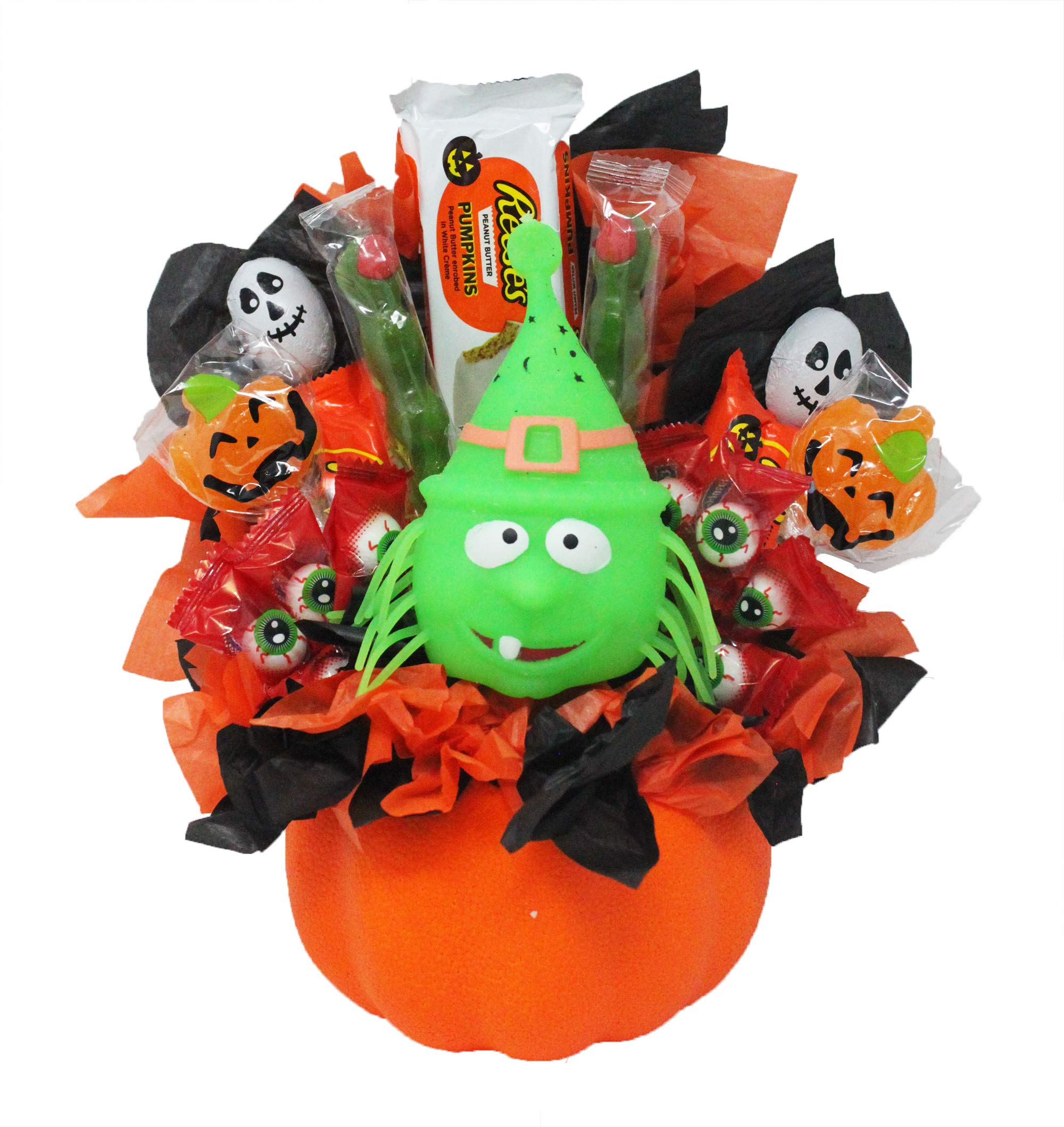 Boo-Ya! Happy Halloween Candy Bouquet Arranged in a Foam Pumpkin with Reese's King Size White Chocolate and Regular Size Milk Chocolate Pumpkin Bars, Zombie Fingers, Skulls, Jack-O-Lanterns and Witch by Online 24/7 LLC