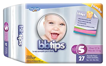 Chicolastic Bbtips Infant Disposable Ultra Diapers, X-Large, Size 5, 108 Count
