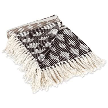 DII Classic Colby Southwest Cotton Handwoven Stripe Blanket Throw with Fringe for Chair, Couch Picnic, BBQ, Camping, Beach, 50 x 60, Dark Brown/Stone