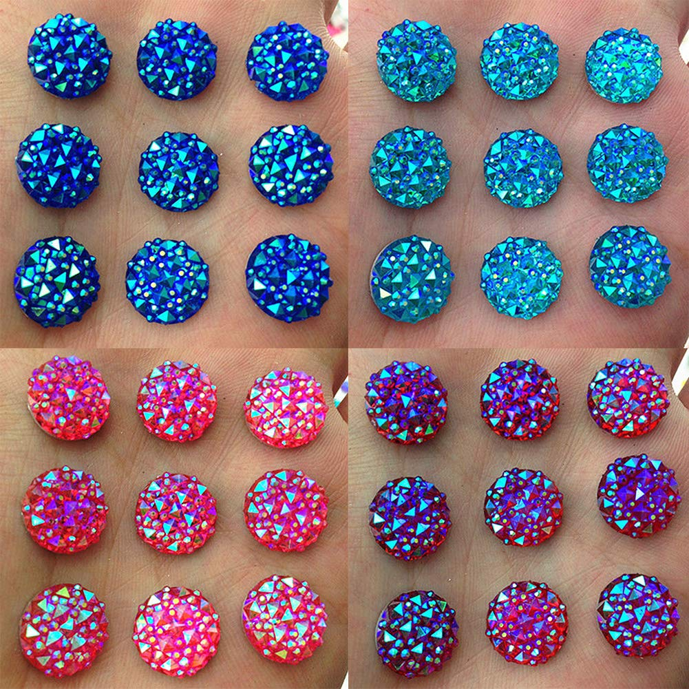 Brussels08 40Pcs 12mm Round AB Resin Bright Flatback Crystal Rhinestones Beads Buttons DIY Craft Loose Beads for Clothes Garment Phone Wedding Party Decoration White Bags Headband