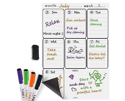 Magnetic Dry Erase Board Planner, Whiteboard Calendar, 4 Dry Erase Markers  And Eraser For