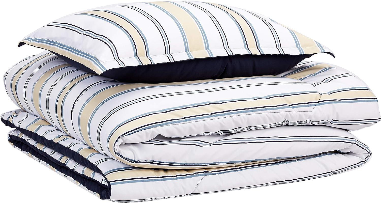 AmazonBasics Comforter Set, Twin / Twin XL, Blue and Tan Stripes, Microfiber, Ultra-Soft