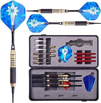 WIN.MAX Dardos de Pástico Dardos de Acero Barrilles de Latón con Aluminio Ejes Y Plumas (Azul): Amazon.es: Deportes y aire libre