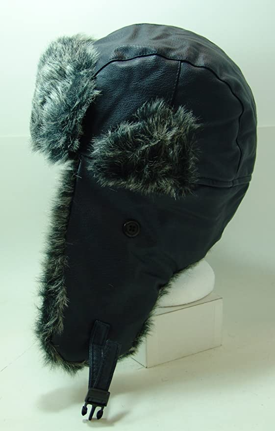 f63e2c2f27985c Amazon.com: FUROCITY HATS Faux-Leather And Polyester Fur Trapper Hat -  Navy: Clothing