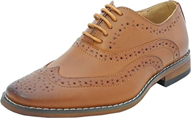 Boys Tan Brown Leather Lined Lace Up