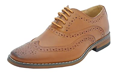 ea50d14f4228 Boys Tan Brown Leather Lined Lace Up Smart Brogues Shoes Size 10-5.5 ...
