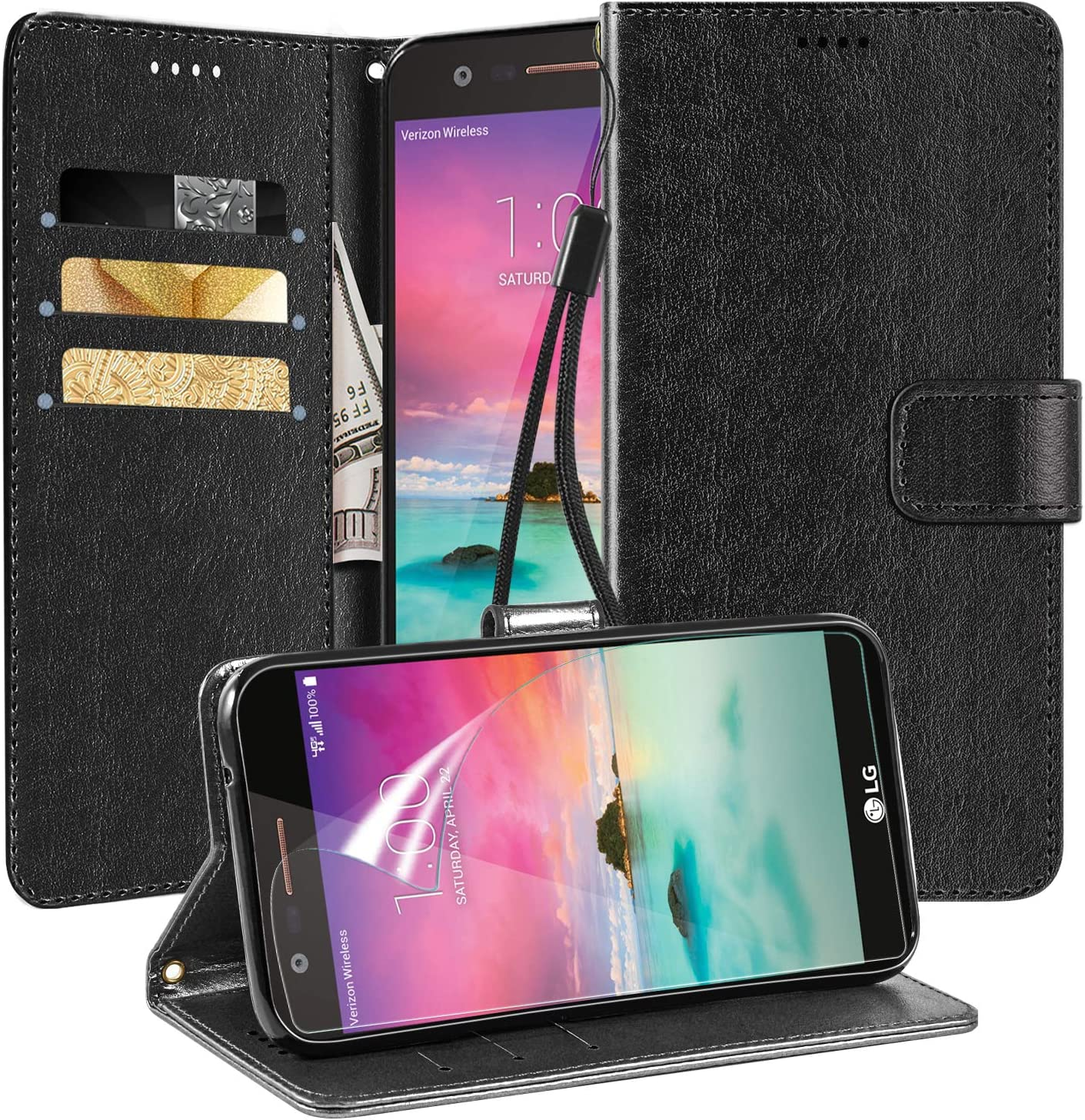LG K20 Plus Case,LG K20/LG Harmony/LG LV5/LG Grace LTE/LG V K20V W [HD Screen Protector] Card Slots Kickstand Durable Crazy Horse Pattern PU Leather Wallet Case,Black