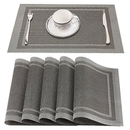 YUJIAN PVC Platzdeckchen, Abwaschbar Tischmatten aus Rutschfest Abgrifffeste Hitzebeständig Tischsets Schmutzabweisend und Wa