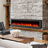 "GMHome 60"" Electric Fireplace Wall Mounted Heater Freestanding Fireplace Crystal Stone Flame Effect 9 Changeable Flame Color Fireplace, w/Remote, 1500/750W, Black"