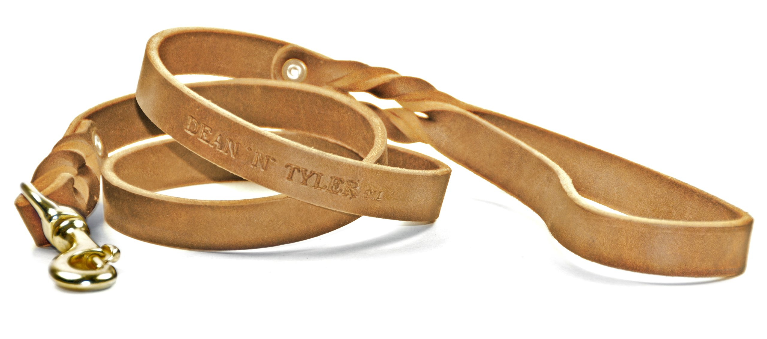 Dean & Tyler Love To Walk Dog Leash with Full Grain Leather and Solid Brass Hardware, 4-Feet by 3/4-Inch, Tan