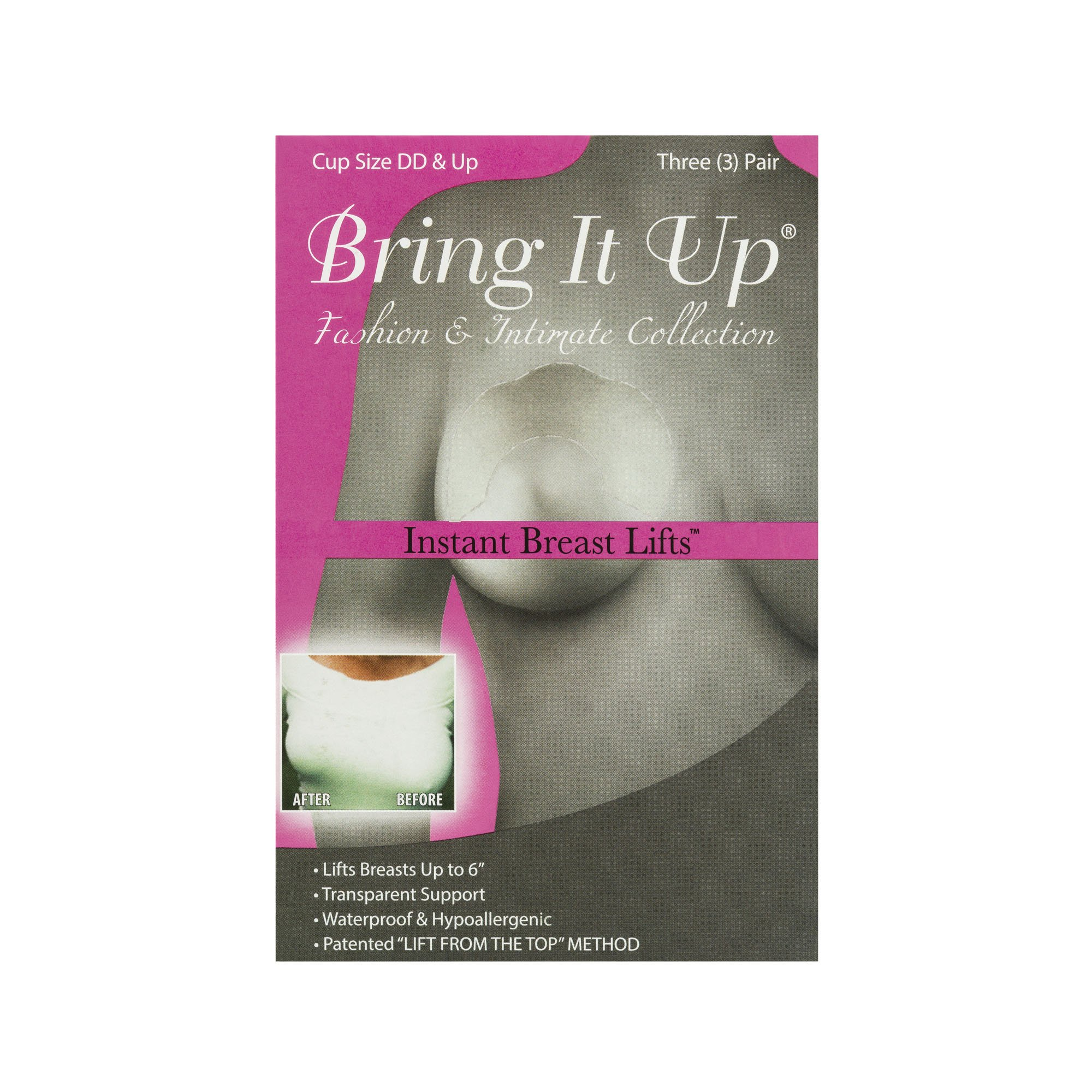 Bring It Up Plus Size Breast Lift, Clear, DD Cup and Up - 1 Pack (contains 3 pairs)