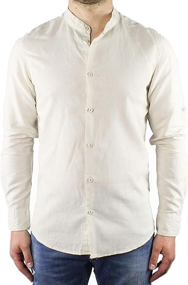 Camisa de Hombre de Lino con Cuello Coreano, Color Beige, de ...