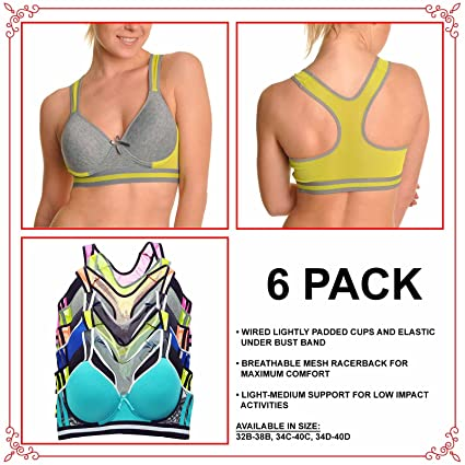 e6b111c5e6a75 Angelina Wired Cotton Sports Bra with Mesh Racer Back (6-Pack) at Amazon  Women s Clothing store