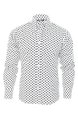 size 40 4e8d3 0026d Herren Retro Hemd Von Relco Gepunktet Knöpfe Langärmelig Vintage Skin Ska