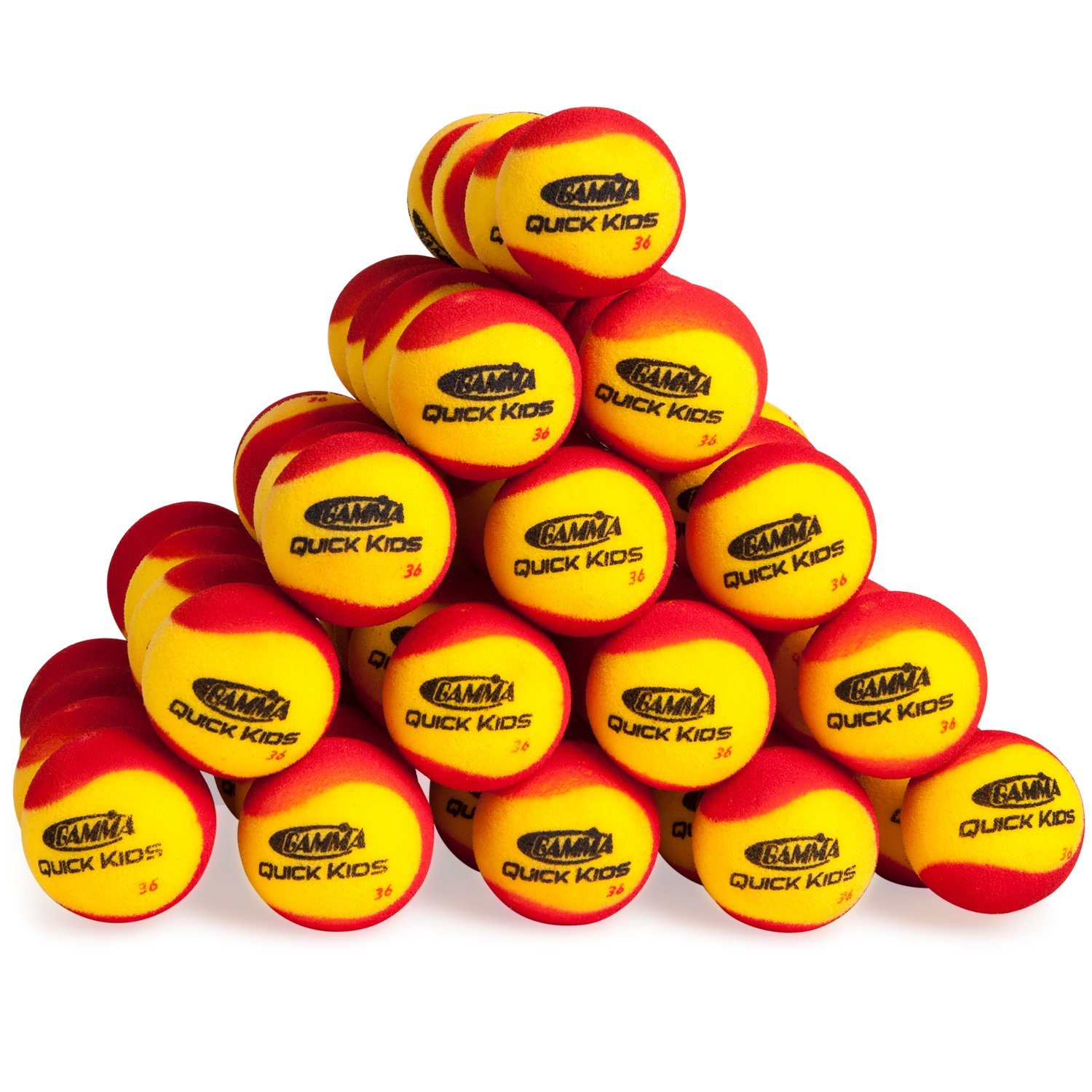 Gamma Sports Quick Kids 36 Foam Low Bounce Training and Practice Tennis Balls for Kids and Beginners, 75% Slower than Standard Tennis Balls (Designed for 36' Tennis Courts, 60 Pack, Yellow/Red)