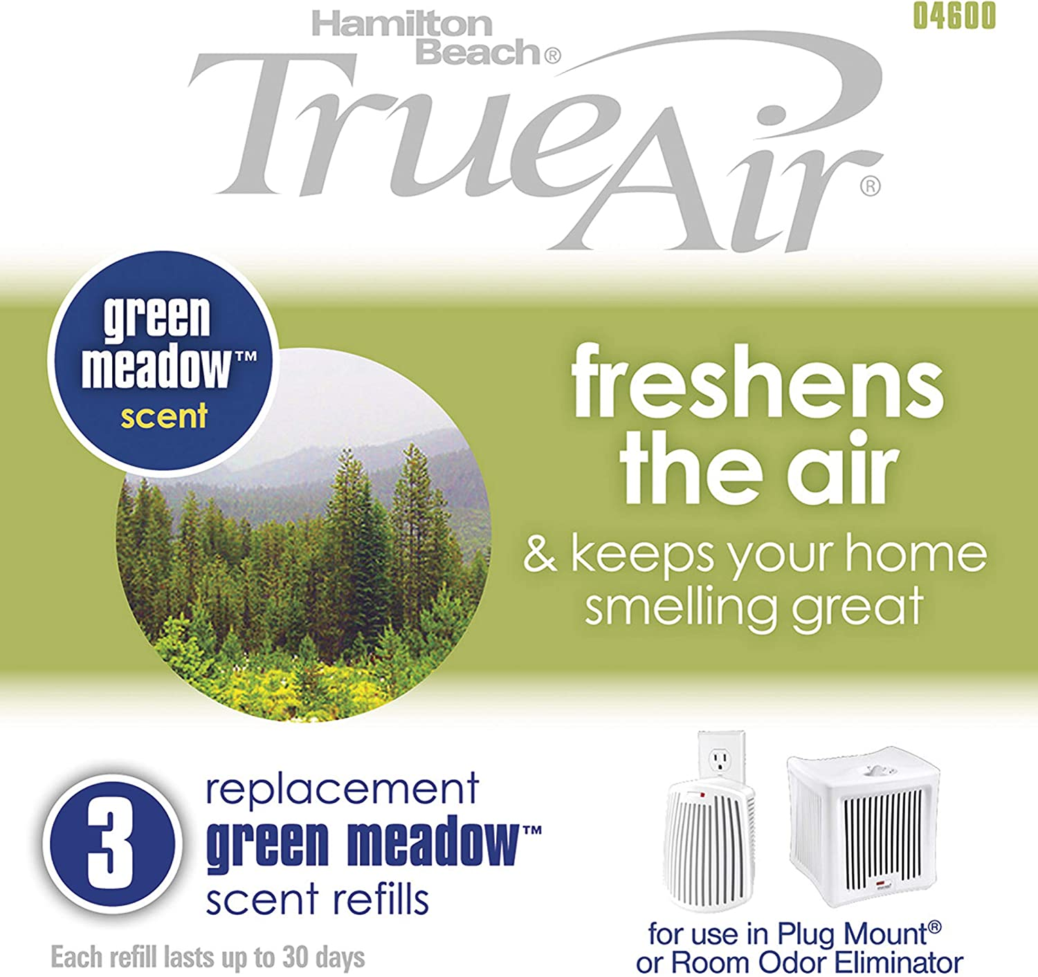 Hamilton Beach Replacement Green Meadow Scent Refills for TrueAir Plug Mount 04531GM and Odor Eliminator 04532GM 04600