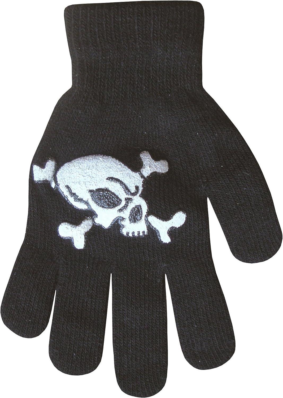 Boys Black Skeleton Skull /& Crossbones Scary Thermal Knit Winter Gloves