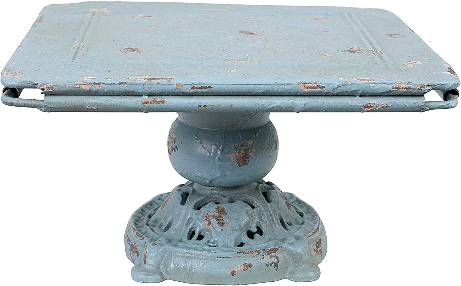 Creative Co-op Distressed Blue Metal Pedestal