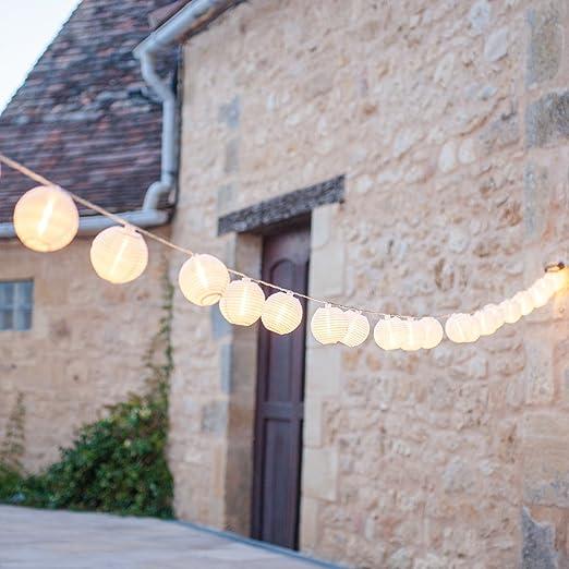 39 opinioni per Catena di 20 luci LED con lanterne in tessuto impermeabile bianco per uso