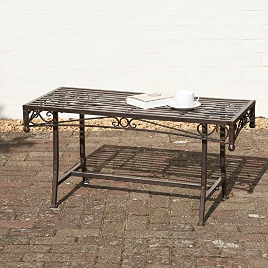 Jardín mesa de café Metal mesa de jardín adornos de hierro forjado acabado en bronce envejecido Look Versailles Metal muebles de jardín: Amazon.es: Jardín
