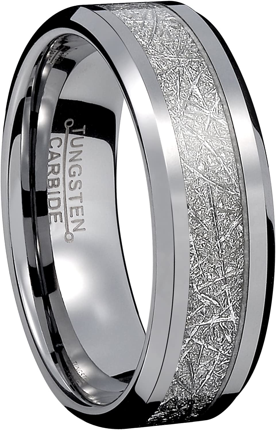It is just a graphic of 42mm Men Silver Tungsten Carbide Engagement Ring Imitated Meteorite Wedding Band High Polished Comfort Fit