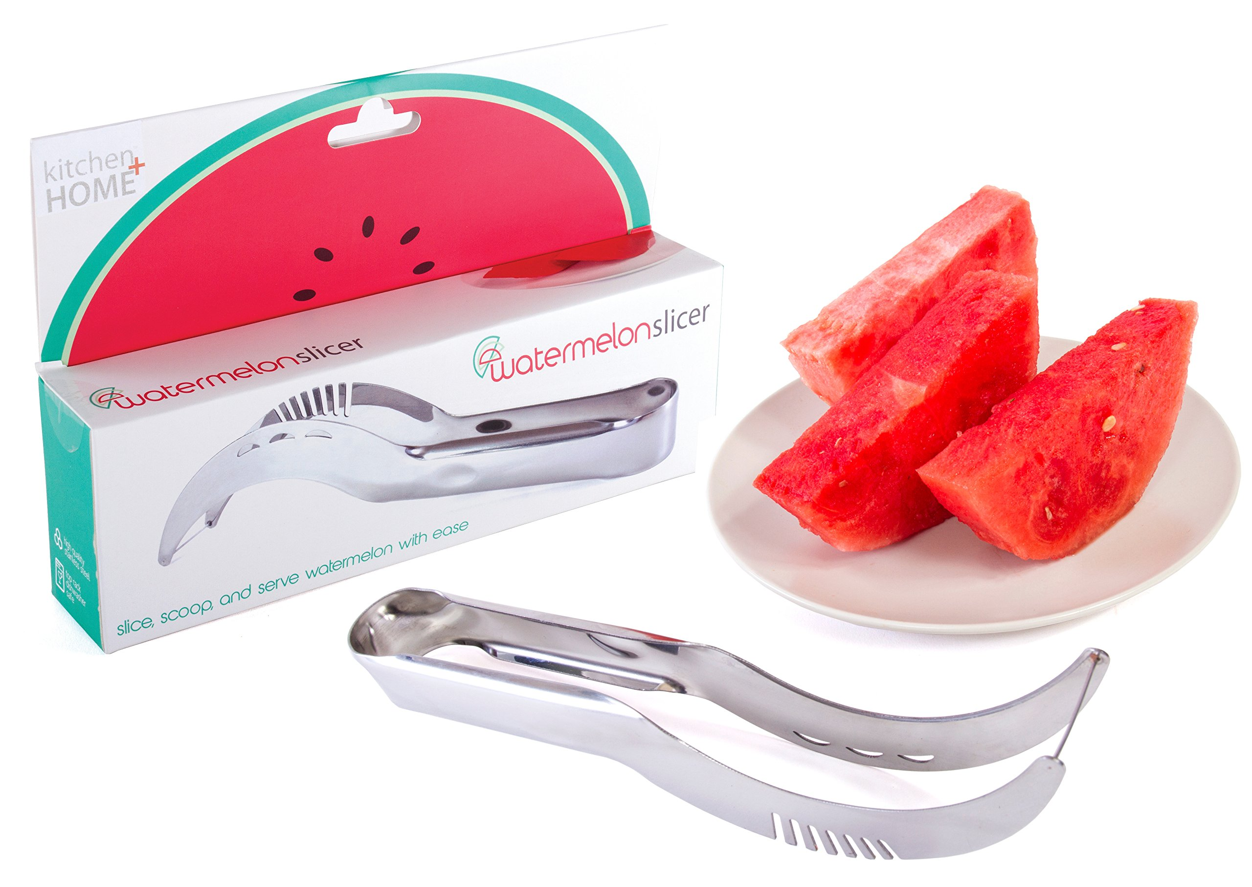 Kitchen + Home Watermelon Slicer Corer and Server - Highest Quality 18/10 Stainless Steel Melon Slicer