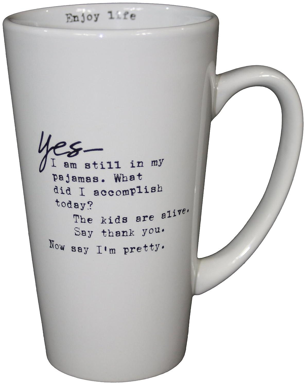 Amazon.com | Sweet Bird And Company LM003 Latte Stoneware Mug, 16 Oz,  White: Coffee Cups U0026 Mugs