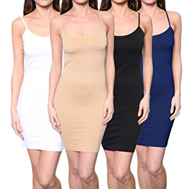 501bbdccd05 Image Unavailable. Image not available for. Color  4 Pack  Seamless  Spaghetti Slip Dress