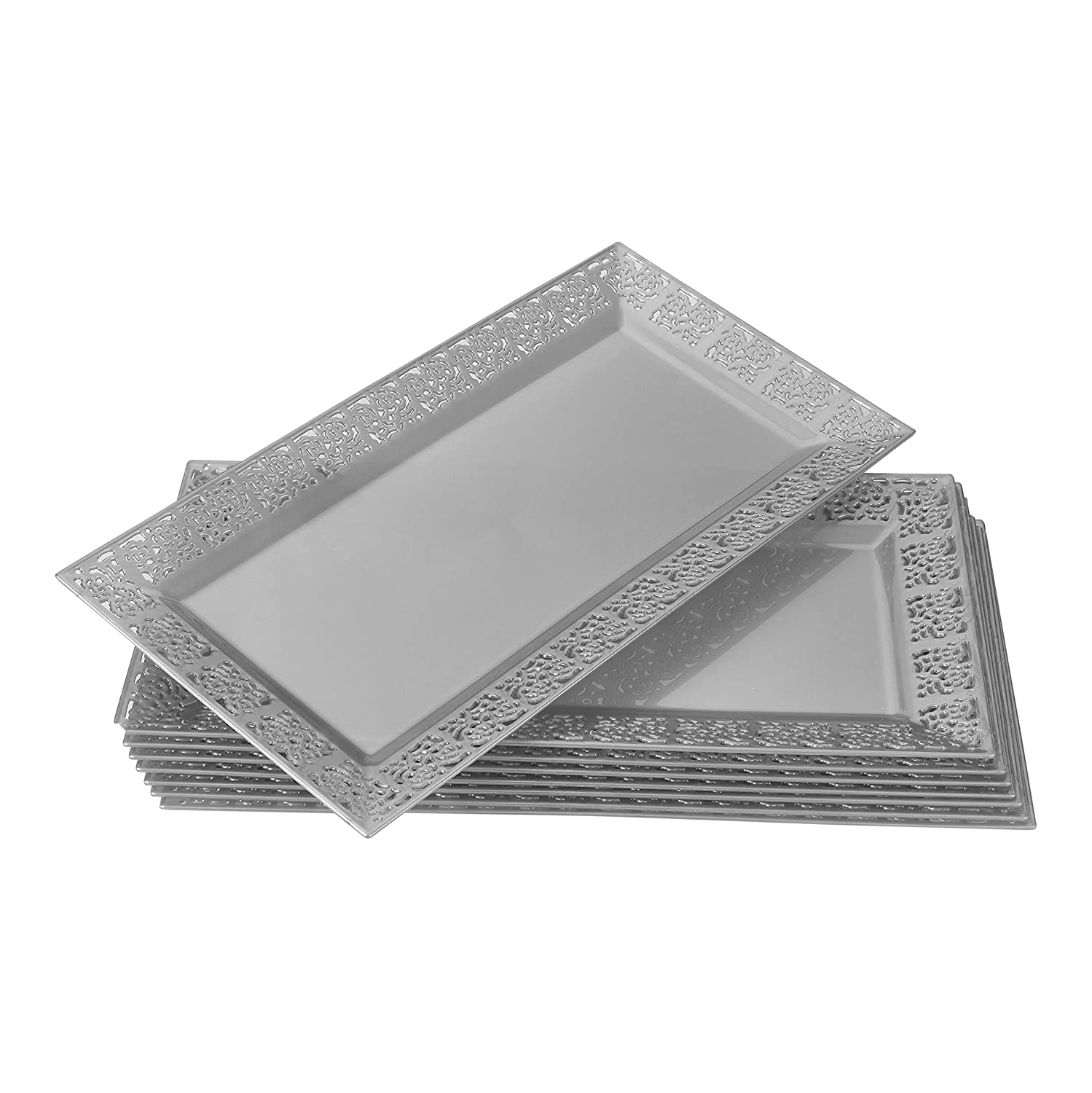 "for Upscale Wedding and Dining DISPOSABLE LACE TRAYS 6 pc 14/"" x 7.5/"" Ivory"