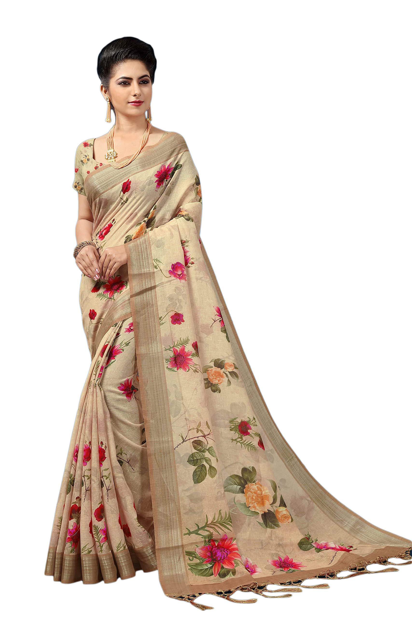KIMANA Women's Indian Bollywood Designer Ethnic Cotton Linen Party Wear Saree S6678 Light Brown