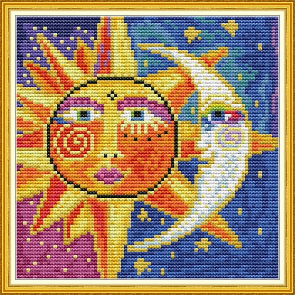 Abstract Sun and Moon 11CT 24/×24cm DIY Embroidery Needlework Kit with Easy Funny Preprinted Patterns Needlepoint Christmas Sun YEESAM ART Cross Stitch Kits Stamped for Adults Beginner Kids