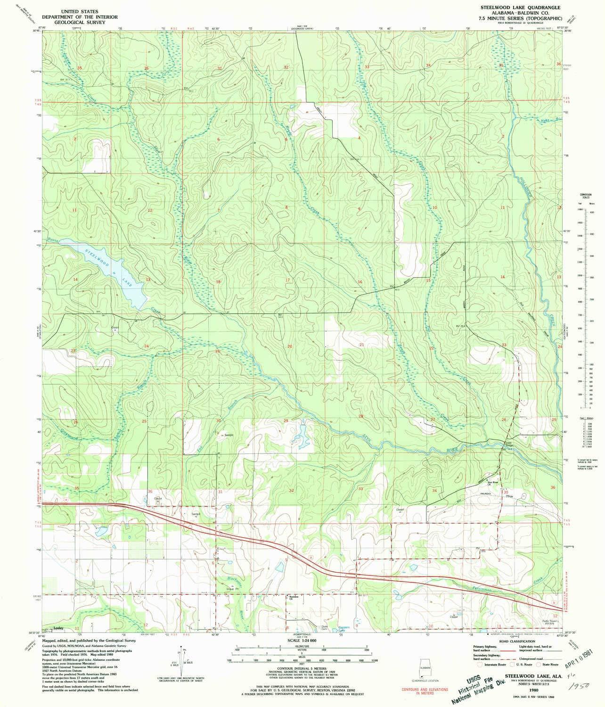 Amazon com : Steelwood Lake AL topo map, 1:24000 Scale, 7 5