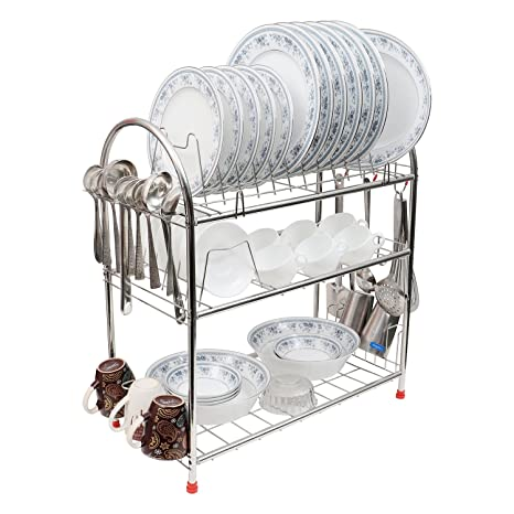 Buy Kurtzy Stainless Steel Rack 3 Tier Dish Drainer Crockery Cutlery