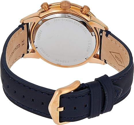 Bracelet de montre Fossil FS5436 Cuir Bleu 22mm