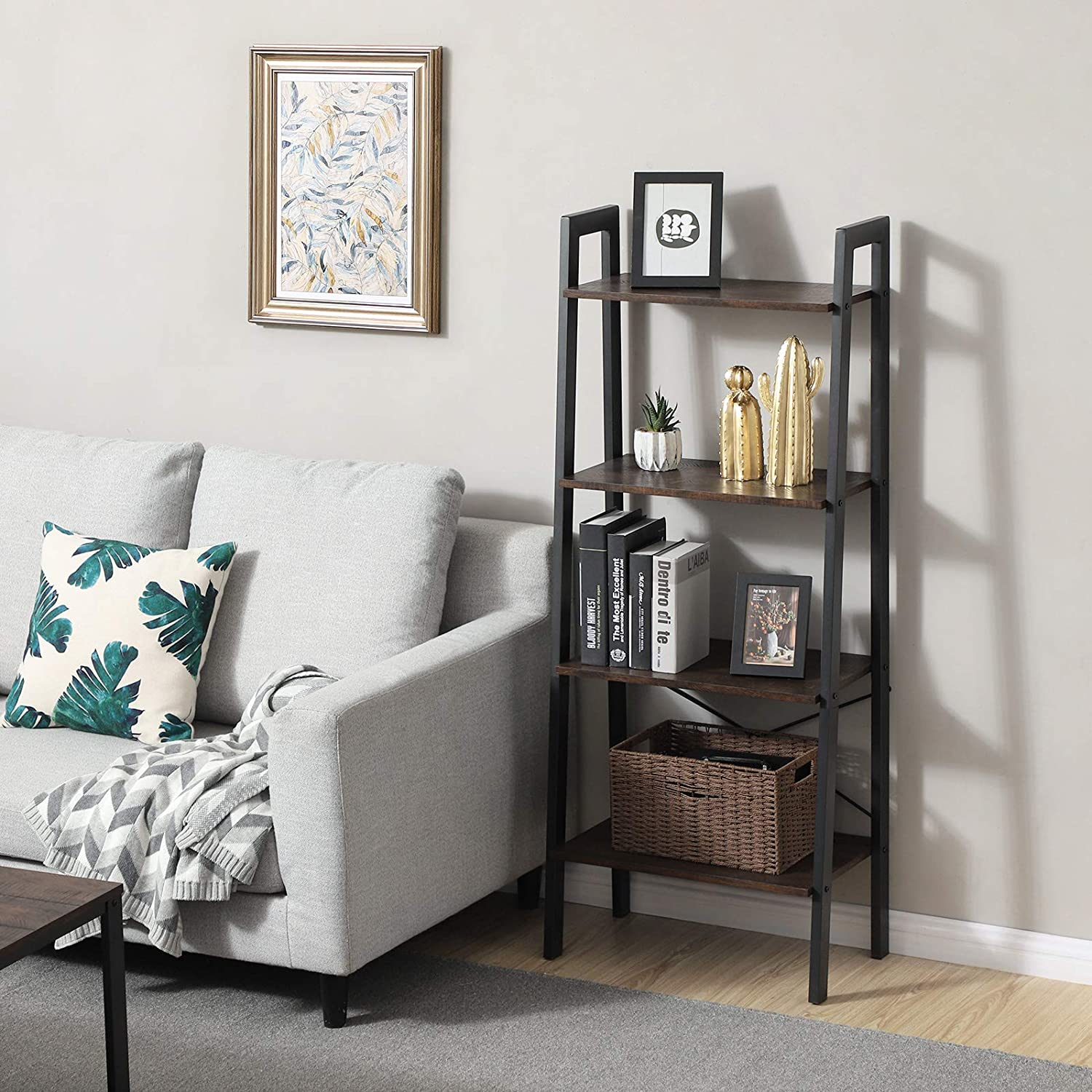 VASAGLE Industrial Bookshelf, 4-Tier Ladder Shelf, Free Standing Storage Shelves, Stable Metal Frame, in The Living Room Kitchen or Balcony, Easy to Assemble ULLS44BF, Rustic Dark Brown