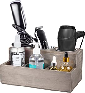 TERRA HOME Hair Tool Organizer - Rustic Wood Hair Product Organizer Holds All Hot Styling Tools, Brush and Vanity Accessories - Countertop Curling Iron Holder (Ash Grey)