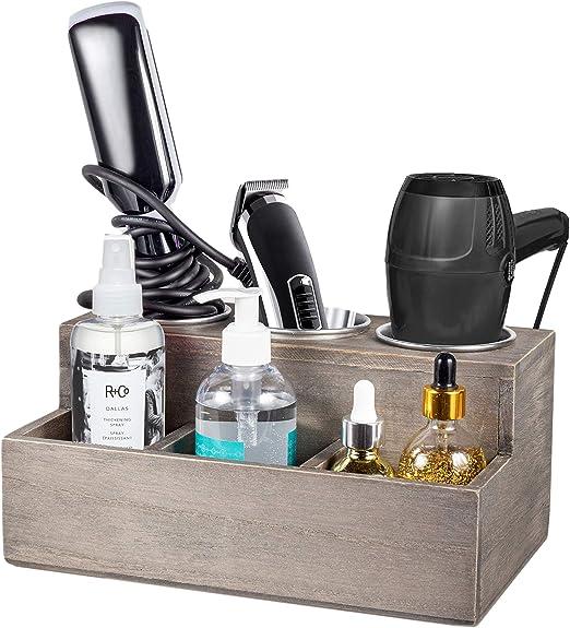 Curling Iron Holder Bathroom Vanity Countertop Organizer Blow Dryer Holder Hair Styling Tools /& Accessories Organizer Rustic ROLOWAY Wooden Hair Tool Organizer Flat Iron Holder