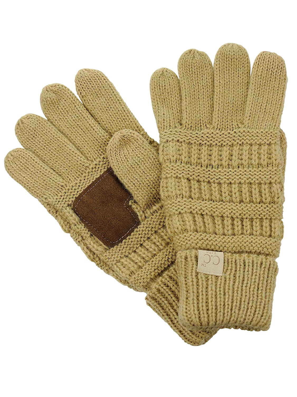 C.C Kids Childrens Cable Knit Warm Anti-Slip Touchscreen Texting Gloves