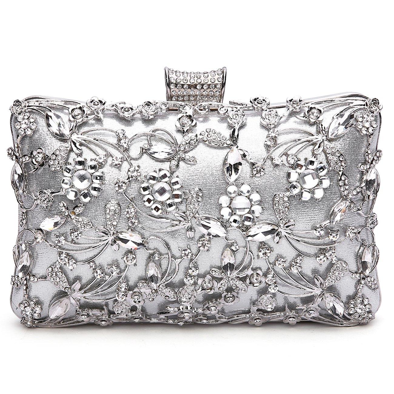 GESU Large Womens Crystal Evening Clutch Bag Wedding Purse Bridal Prom Handbag Party Bag.(Silver)