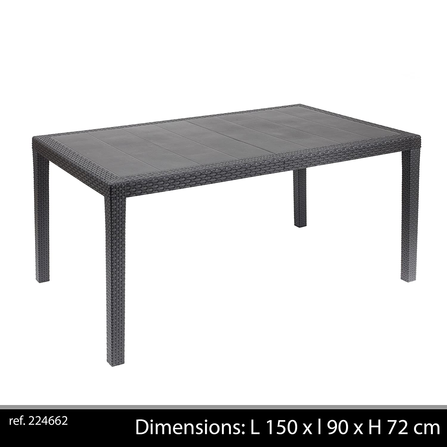 Ipae-Progarden Prince Rectangular Table, Anthracite, Plastic, 150 x 90 x 72 cm 8009271014626