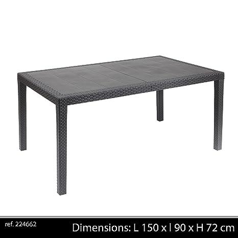 Tavoli Da Giardino In Alluminio Amazon.Ipae Progarden Tavolo Fisso Intrecciato Stile Rattan Colore