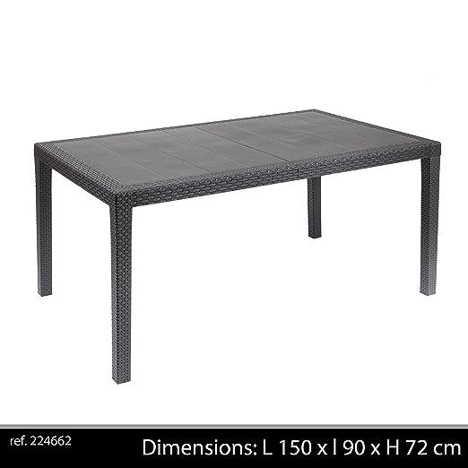 blumfeldt Tabula Tavolino da Giardino Terrazzio Appoggio Cocktail Grigio Talpa 50 CMm, Vetro, Copertura in Polyrattan, Alluminio, Resistente alle intemperie