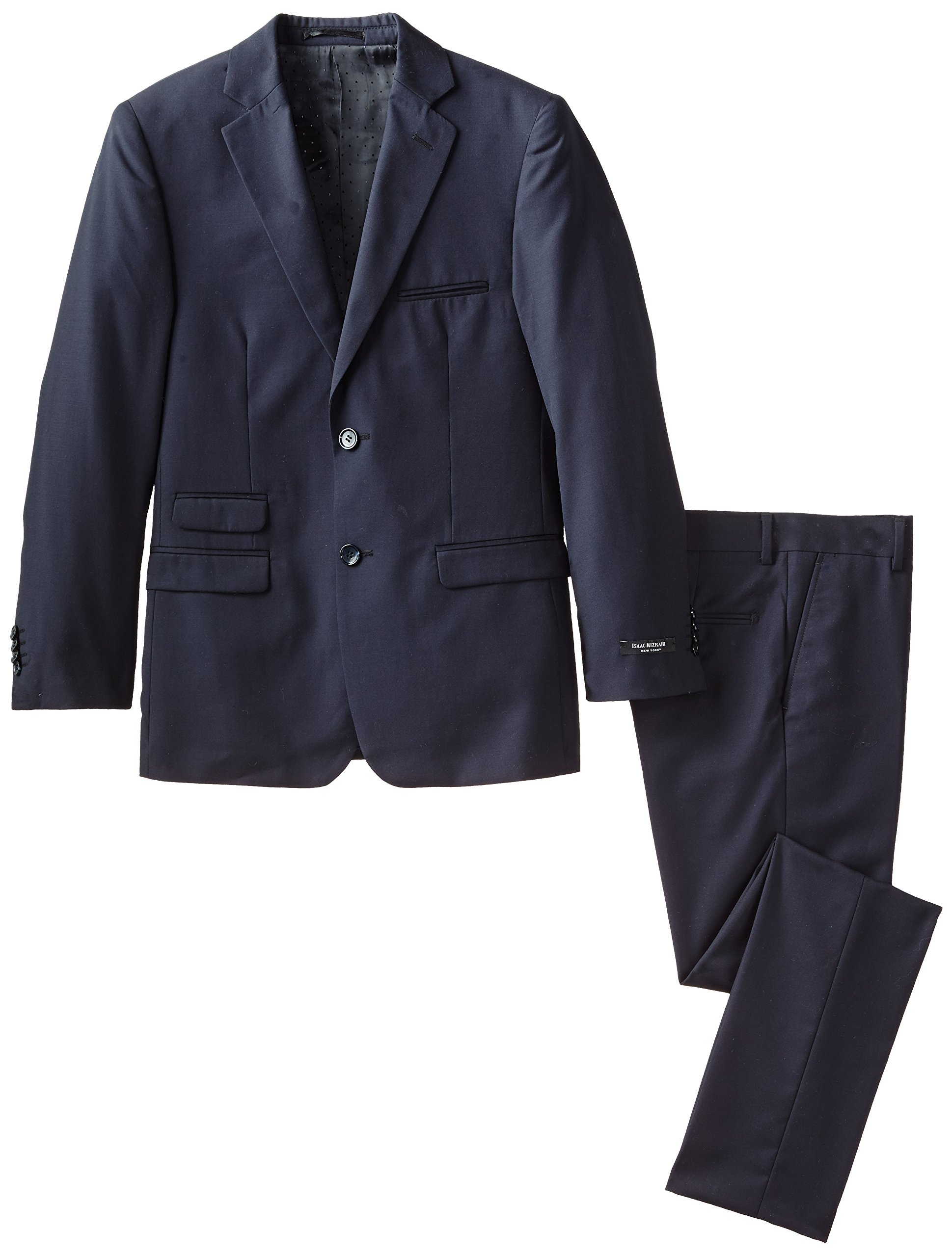 Isaac Mizrahi Black Label Big Boys' Slim Fit Wool 2 Piece Solid Suit, Navy, 10