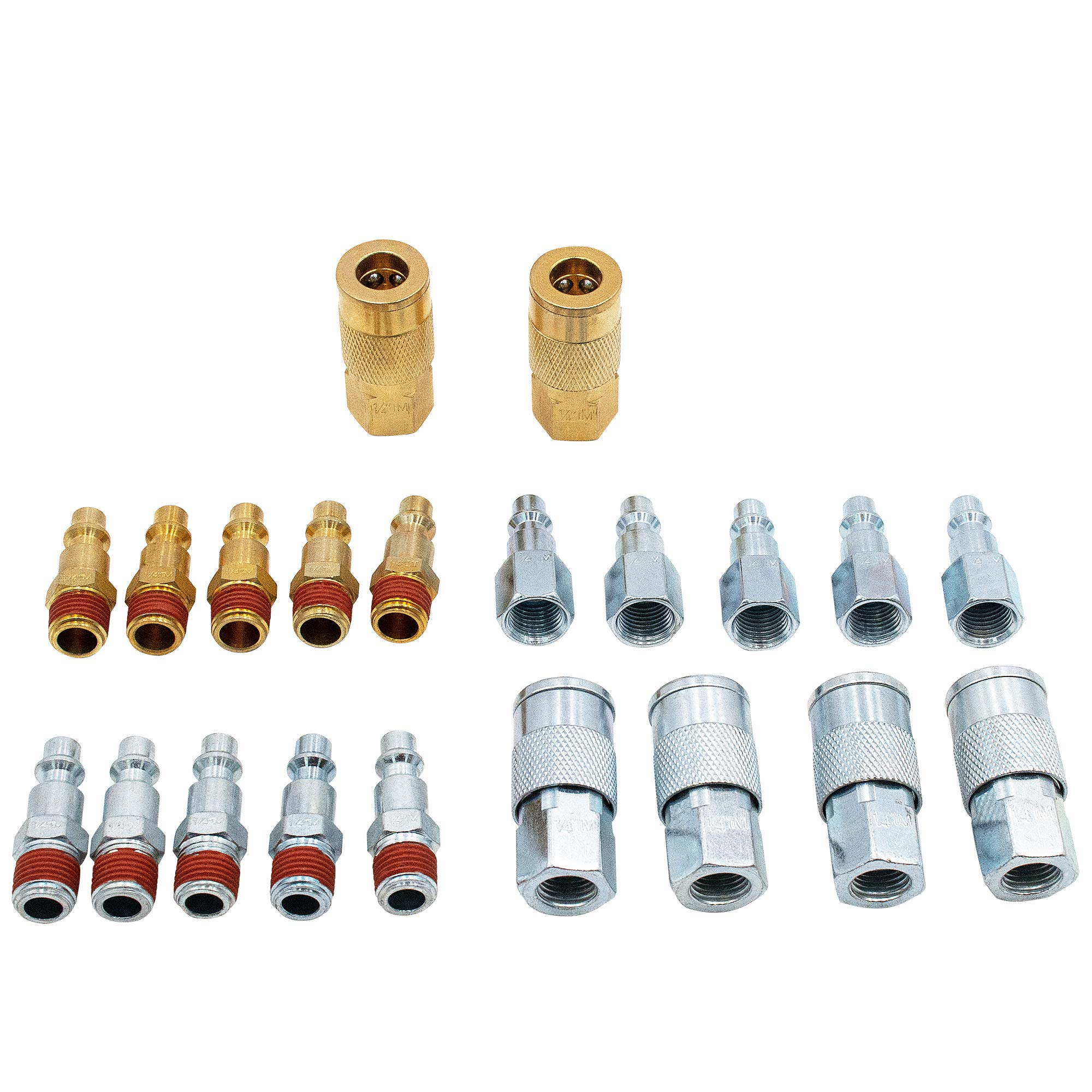AUTOMAN Coupler Plug Kit - 21pcs Air Quick Coupler & Plug Kit With Storage Case,I/M Type,1/4 in NPT,Air Tool Fittings,ATMSW-07.