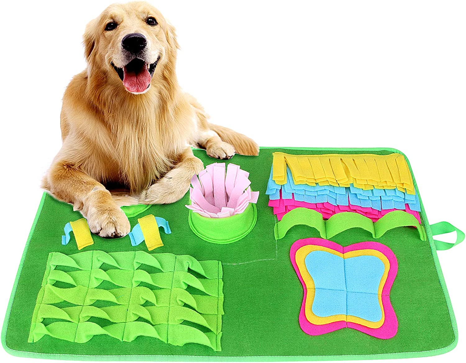 synmixx Dog Snuffle Mat Pet Dog Feeding Mat- Durable Interactive Dog Toys Encourages Natural Foraging Skills,Dog Play Mat Sniffing Training Pad Fun Mats, Great for Stress Release