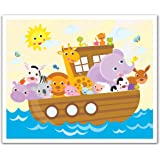 JP London Peel and Stick Removable Wall Decal Sticker Mural, Noah's Ark Animal Friends, 24 by 19.75-Inch