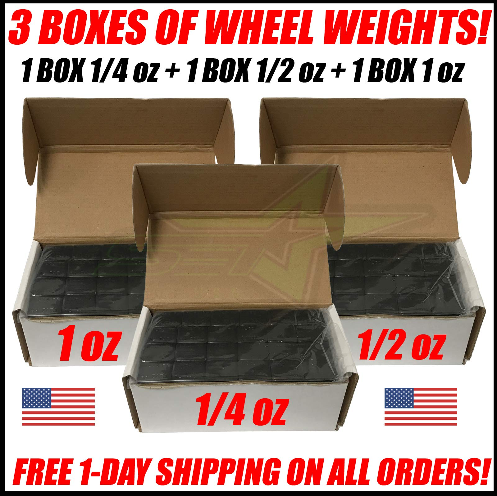 SET Group USA 3 Boxes of Black Wheel Weights 1/4oz + 1/2oz + 1oz Stick-On Adhesive Tape Total 27 LB (432oz) by SET Group USA